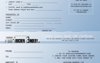 Custom Bound Comic Gift Certificates Now Available